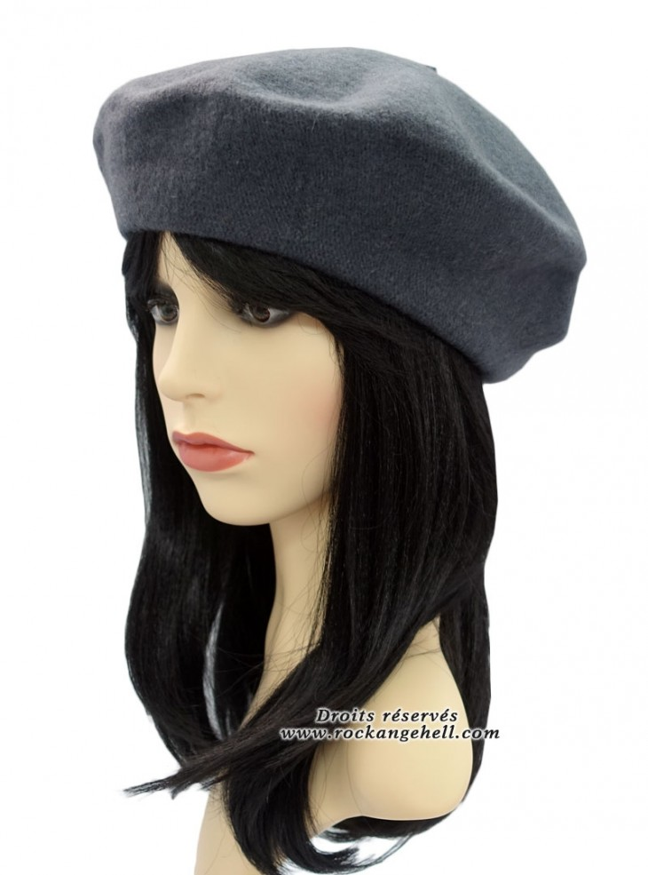 "Béret Bonnet Gris Rockabilly Pin-Up Vintage ""Just Grey"""