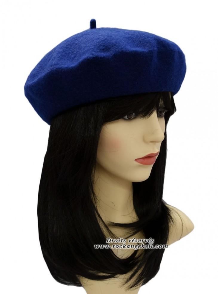 """Béret Bonnet Bleu Pin-Up Vintage Retro """"Royal Blue"""""""