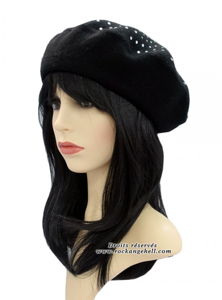 "Béret Bonnet noir Pin-Up Vintage Rockabilly ""Classic Studs Black"""