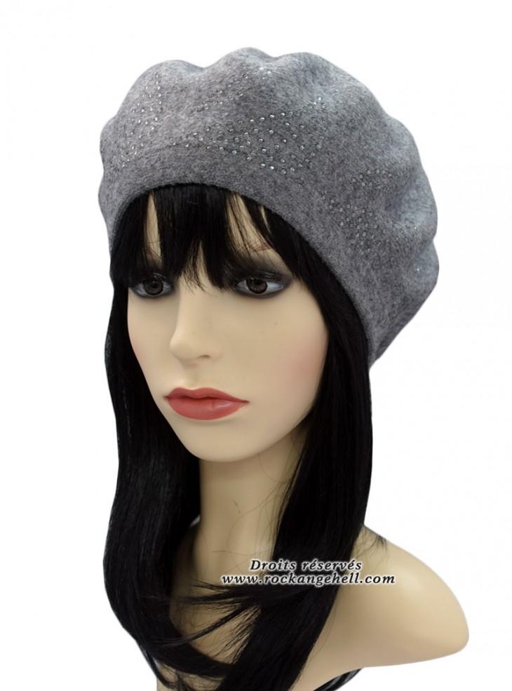 "Béret Bonnet Gris Retro Pin-Up Rockabilly ""Diamond Grey"""