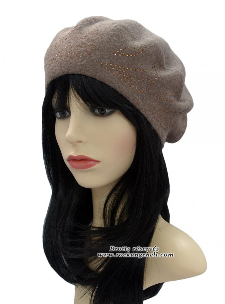 "Béret Bonnet Beige Pin-Up Vintage Rockabilly ""Diamond Beige"""
