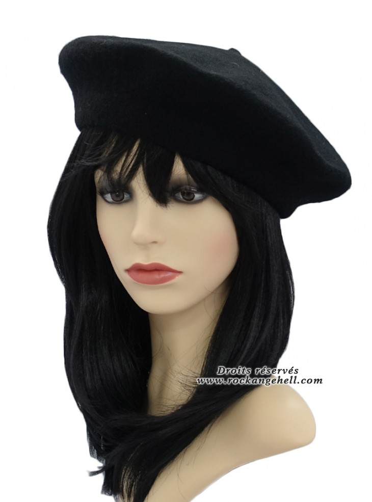 "Béret Bonnet Noir Rockabilly Pin-Up Retro ""Just Black"""