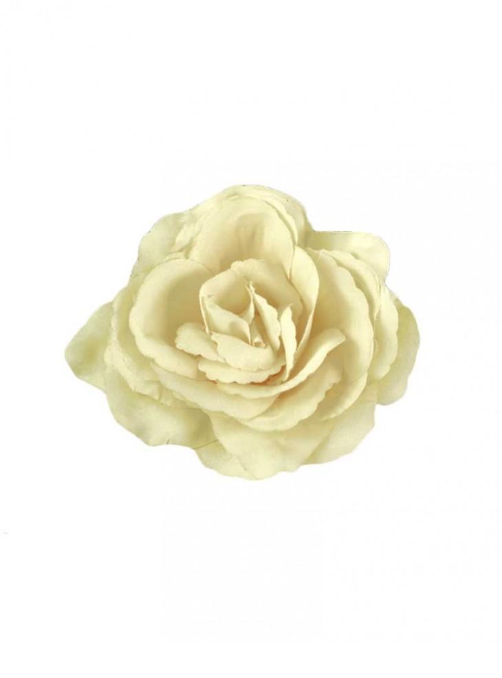 "Barrette Rockabilly Années 50 Poizen Industries (Evil Clothing) ""Beige Flower"""