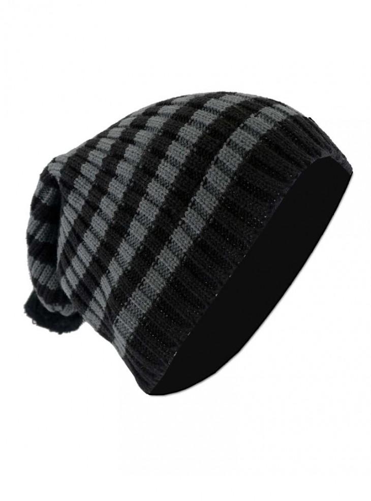 "Bonnet Punk Rock noir/gris Vixxsin (Evil Clothing) ""Grey Stripes"""