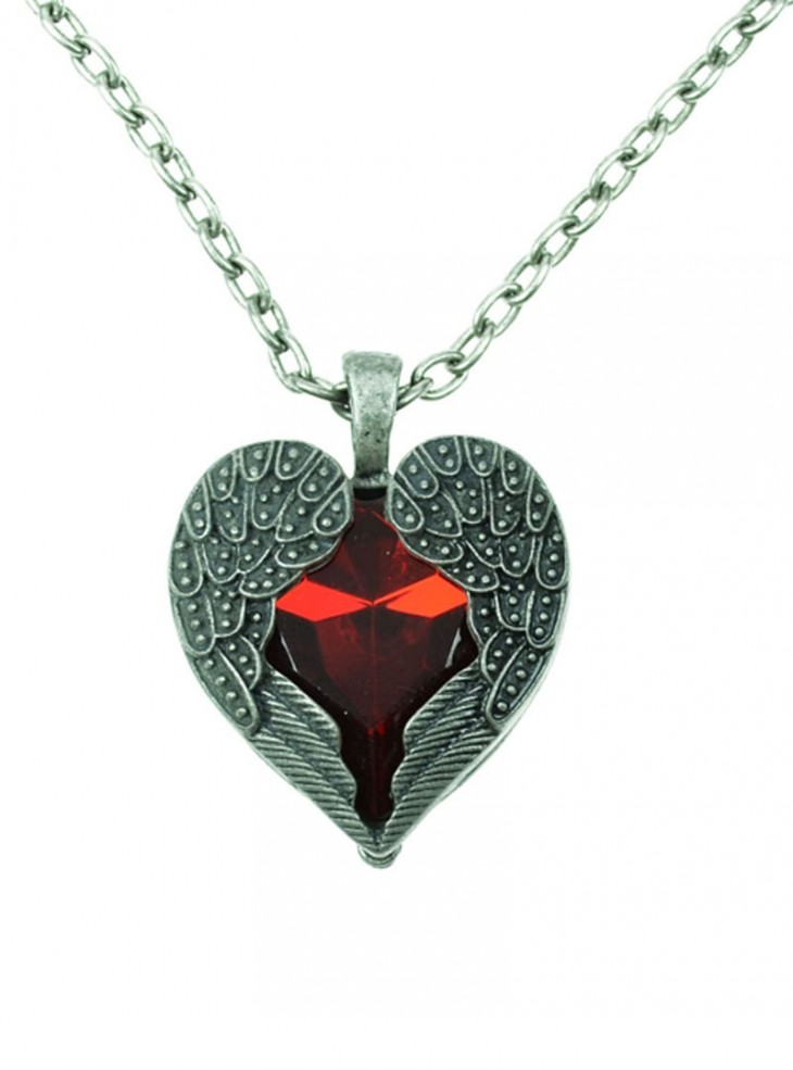"""Collier Gothique Poizen Industries (Evil Clothing) """"Red Wing Heart"""""""