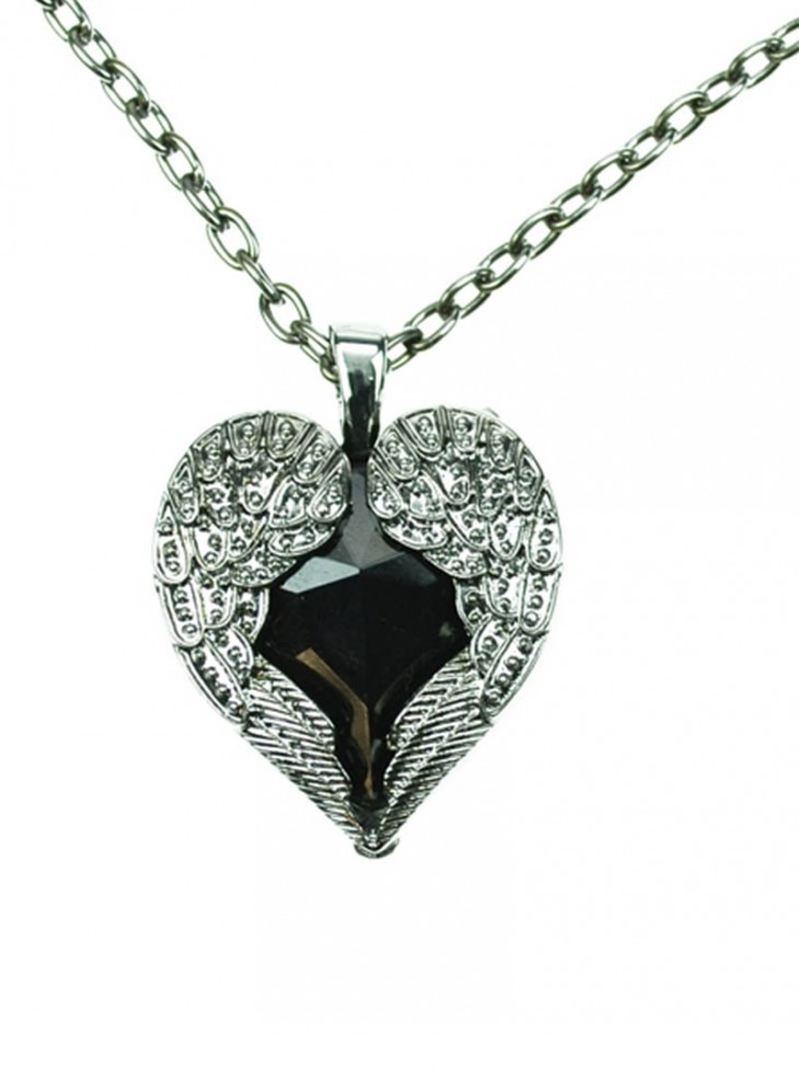 "Collier Gothique Poizen Industries (Evil Clothing) ""Black Wing Heart"""