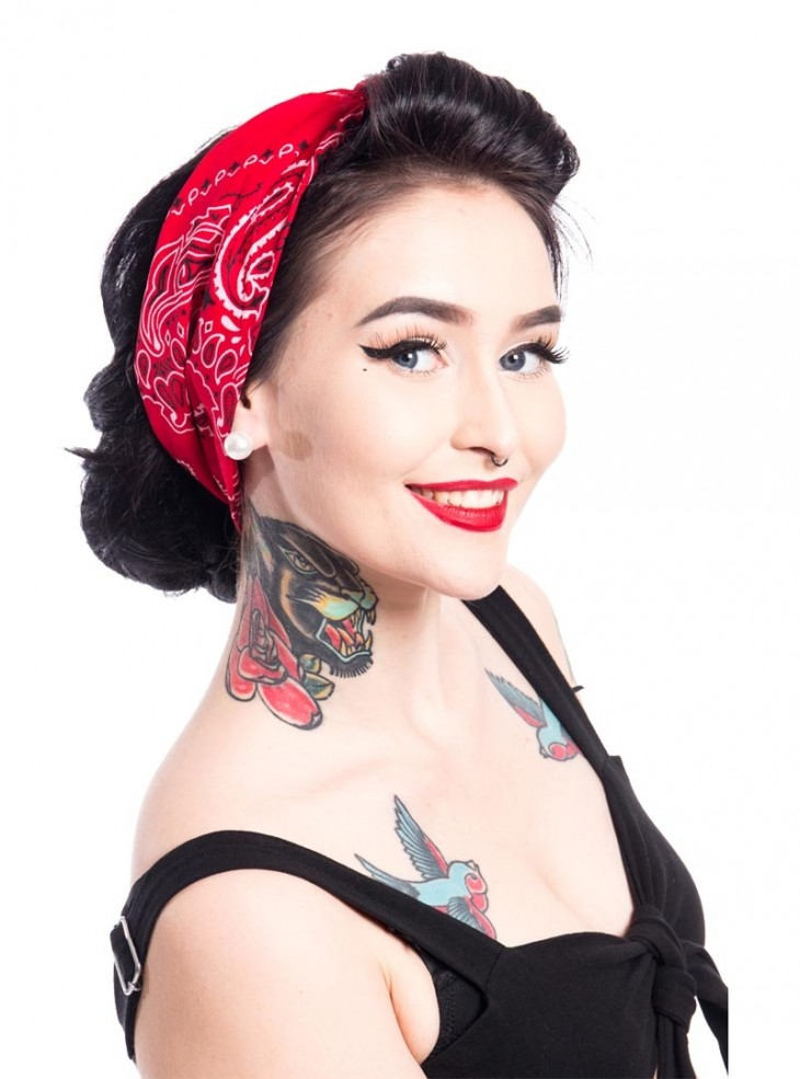 "Bandana Foulard Rockabilly Pin-Up Retro Rockabella (by Evil Clothing) ""Band One Red"""