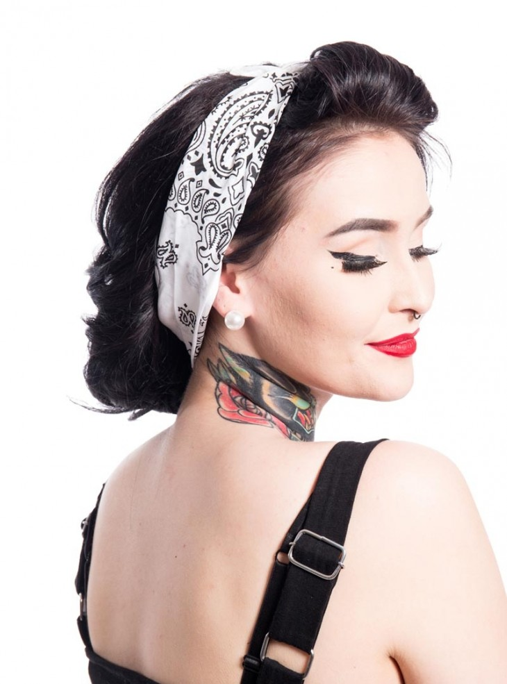 "Bandana Foulard Rockabilly Pin-Up Vintage Rockabella (by Evil Clothing) ""Band One White"""