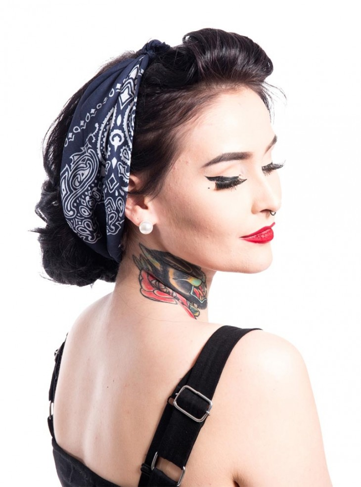 "Bandana Foulard Rockabilly Pin-Up Années 50 Rockabella (by Evil Clothing) ""Band One Blue"""
