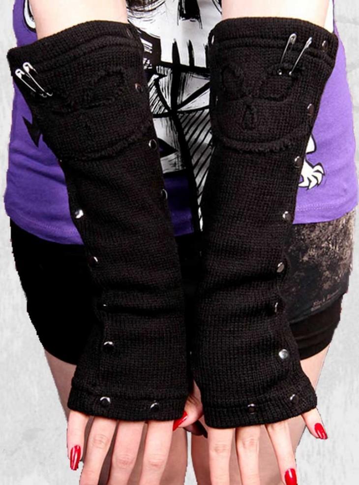"Mitaines punk gothiques Vixxsin (Evil Clothing) ""Skullstar"""