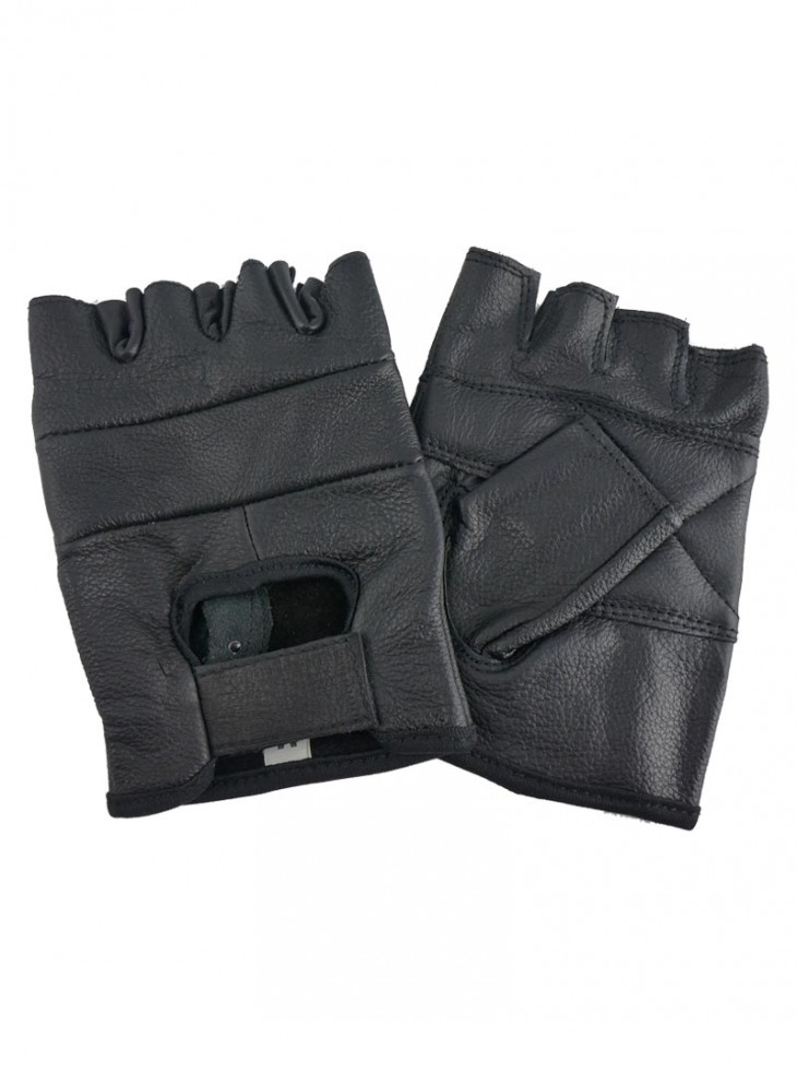 "Gants Mitaines Biker Cuir ""Just Black"""
