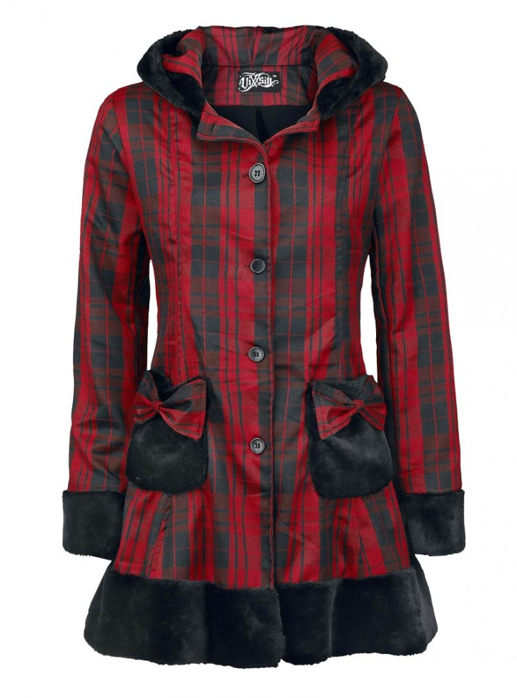 "Manteau Rock Punk Lolita Poizen Industries (Evil Clothing) ""Elsa Red Check"""