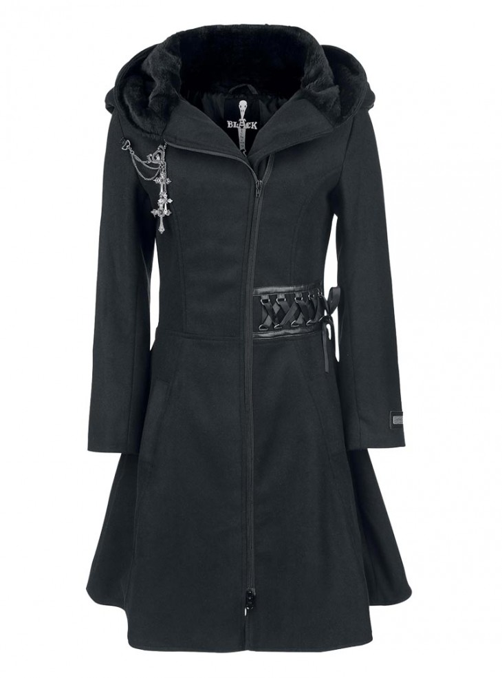 "Manteau Rock Gothique Alchemy Black (Evil Clothing) ""Tears"""