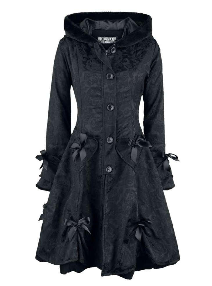 "Manteau Retro Gothique Lolita Poizen Industries (Evil Clothing) ""Black Rose"""