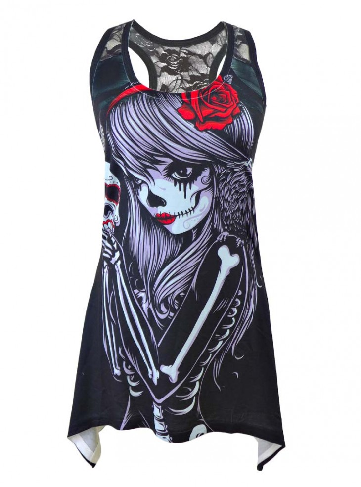 """Débardeur Rock Gothique Vixxsin (Evil Clothing) """"Crow Girl"""""""