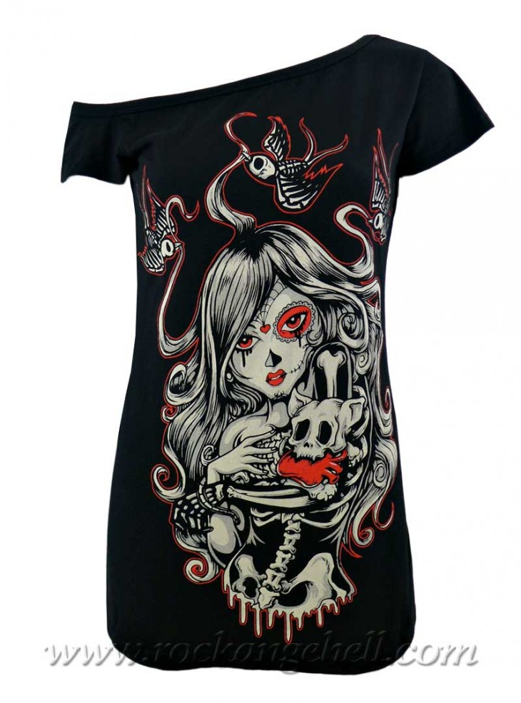 "Débardeur Rock Gothique Vixxsin (Evil Clothing) ""Cat Muerte"""