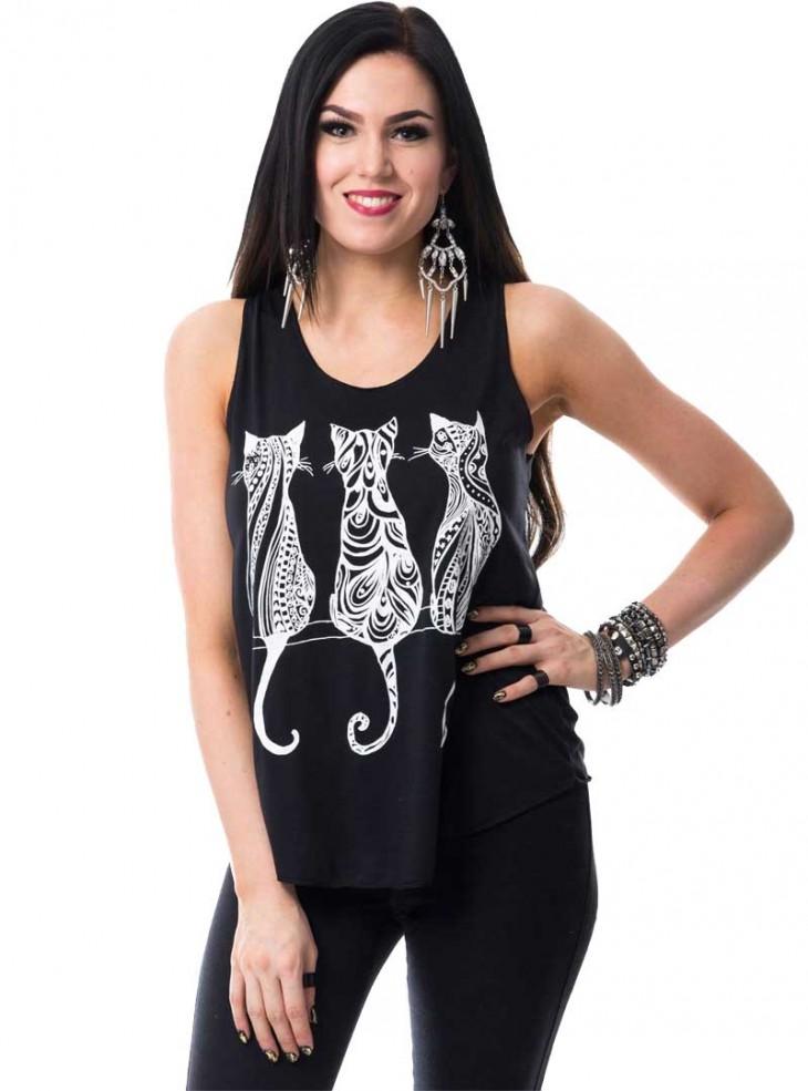 "Débardeur Rock Kawaii Innocent (Evil Clothing) ""Cats"""
