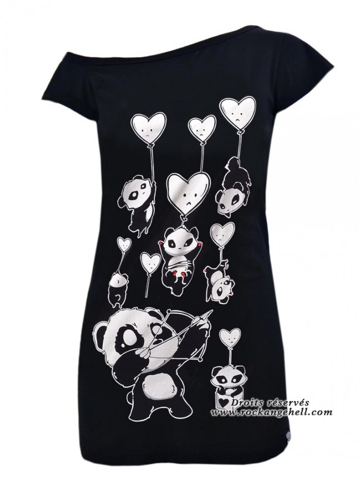 "Débardeur Rock Gothique Killer Panda (Evil Clothing) ""Shooting Hearts"""