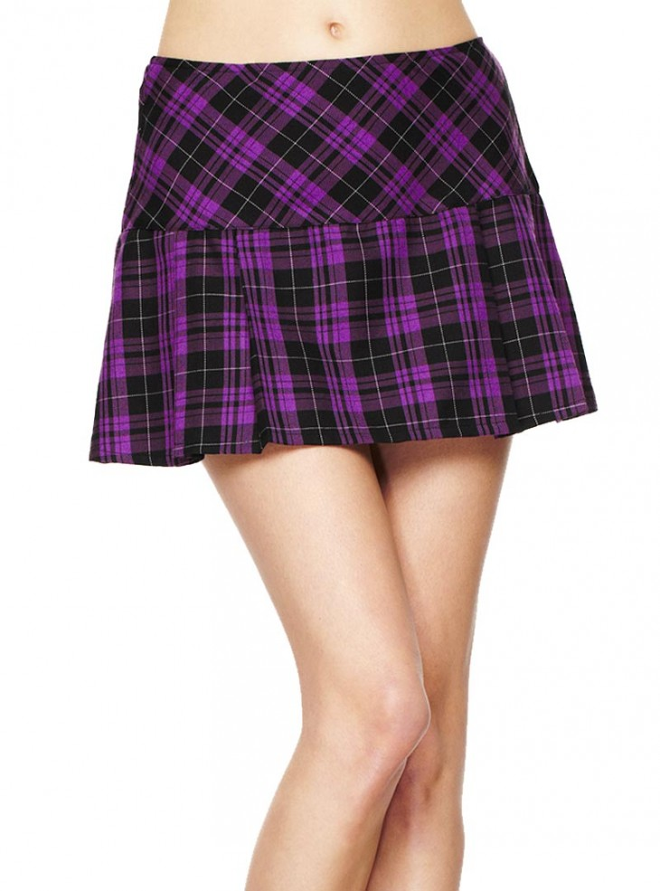 "Jupe écossaise Hell Bunny ""Purple Tartan"""