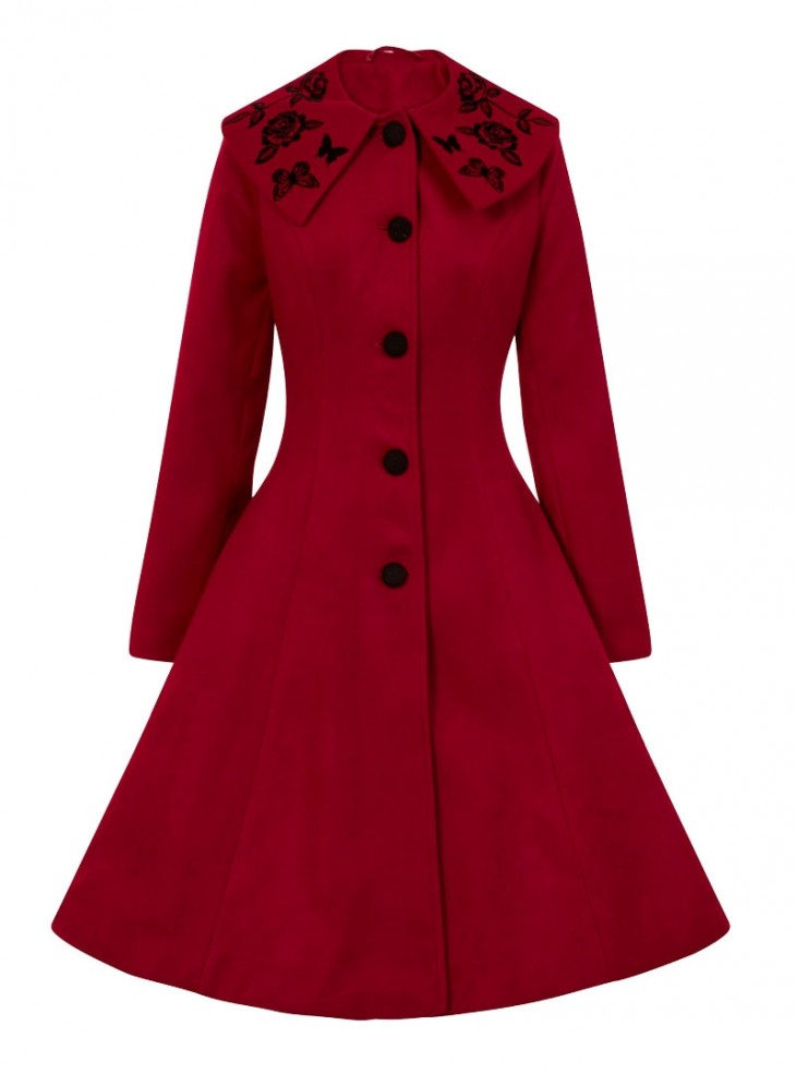 "Manteau Rockabilly Pin-Up Retro Hell Bunny ""Hermione Red"""