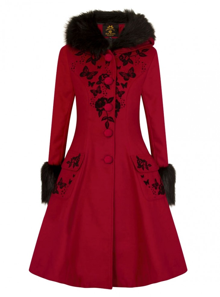 "Manteau Pin-Up Rockabilly Lolita Hell Bunny ""Anderson Red Burgundy"""