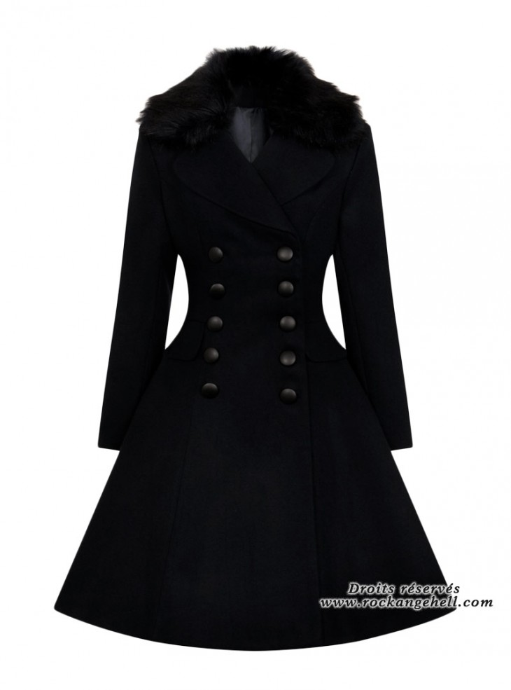 "Manteau Rockabilly Pin-Up Vintage Hell Bunny ""Milan Black"""