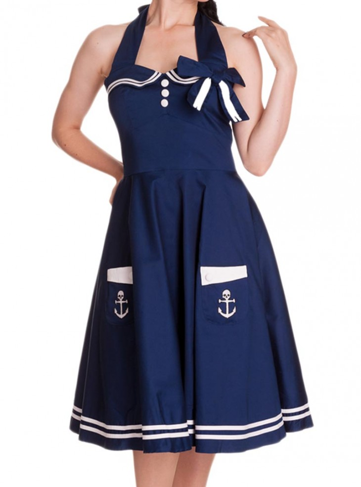 "Robe Sailor Rockabilly Vintage Années 50' Hell Bunny ""Navy Motley"""