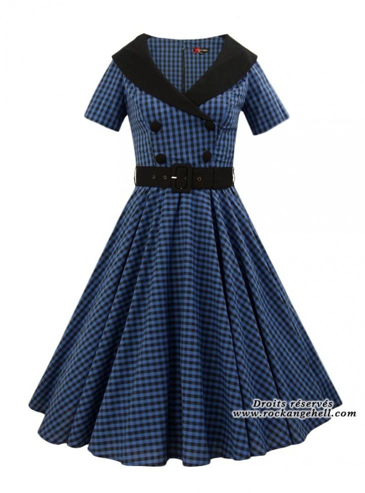 "Robe Rockabilly Retro Vintage Années 50' Hell Bunny ""Bridget Blue"""