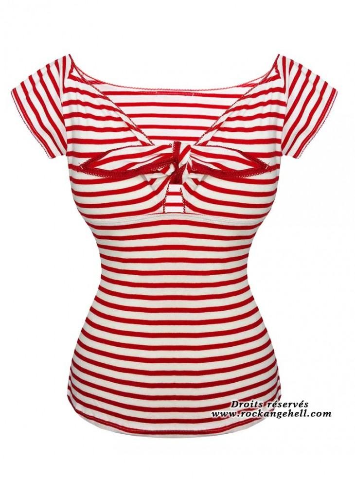 "Tee-shirt Sailor Rockabilly Retro Hell Bunny ""Dolly Red Stripes"""