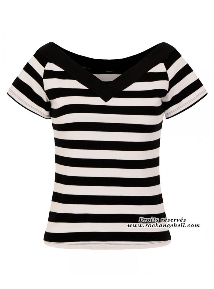 "Tee-shirt Rockabilly Retro Pin-Up Hell Bunny ""Alex Stripes"""