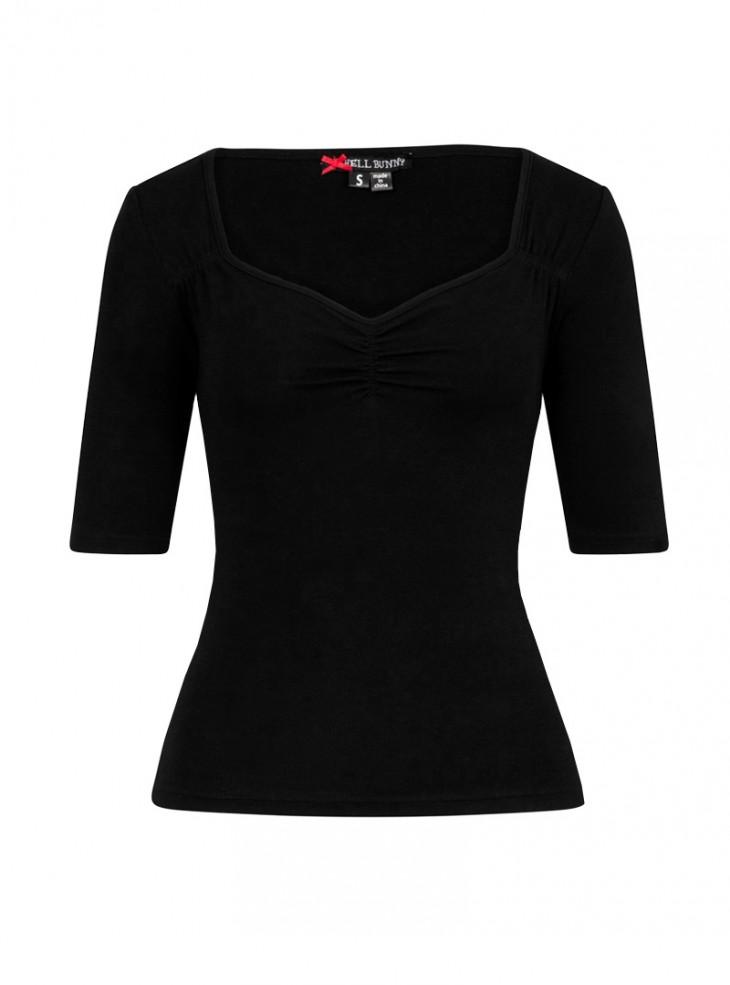 """Tee-shirt Rockabilly Retro Pin-Up Hell Bunny """"Philippa Black"""""""