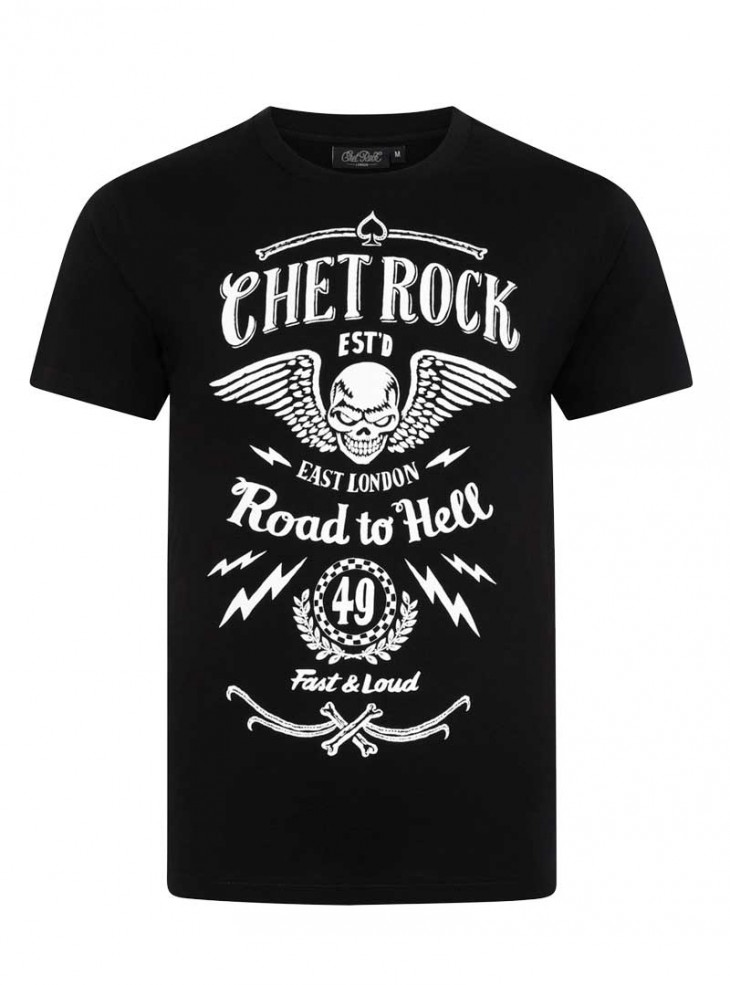 """Tee-shirt homme Rock Rockabilly Chet Rock """"Road To Hell"""""""