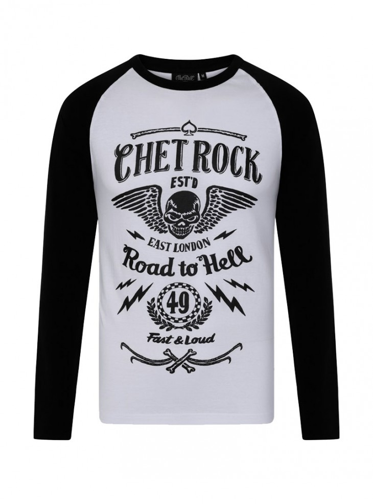 "Tee-shirt manches longues homme Rockabilly Rock Chet Rock ""Road To Hell"""