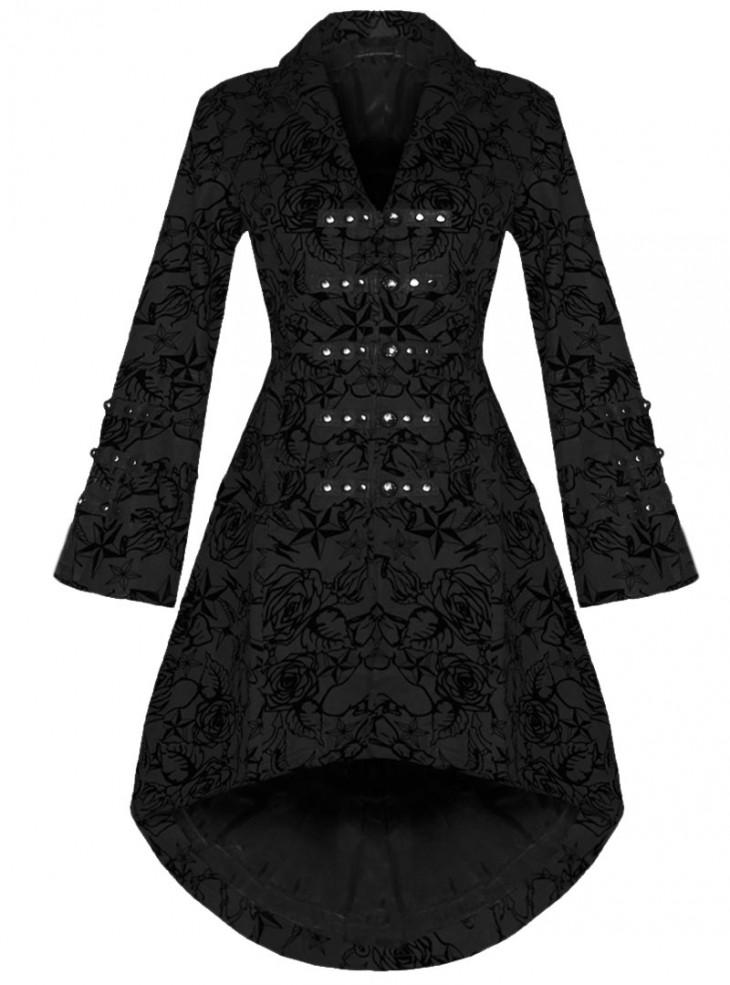 "Manteau gothique rockabilly HR London ""Black Flocking"""