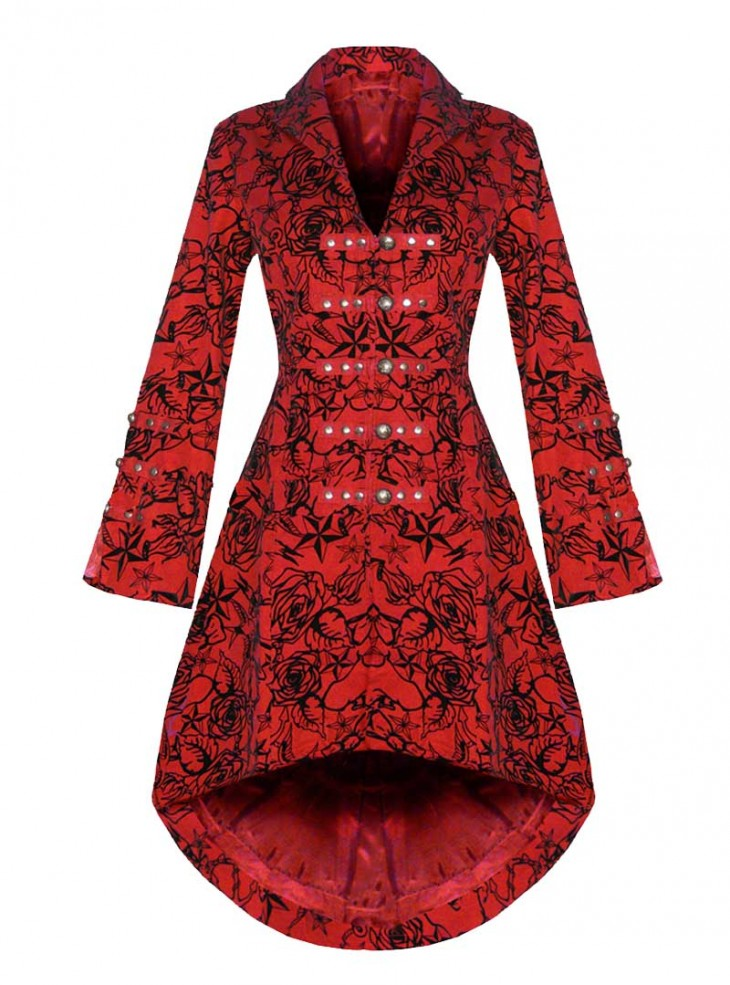 "Manteau gothique rockabilly HR London ""Red Flocking"""