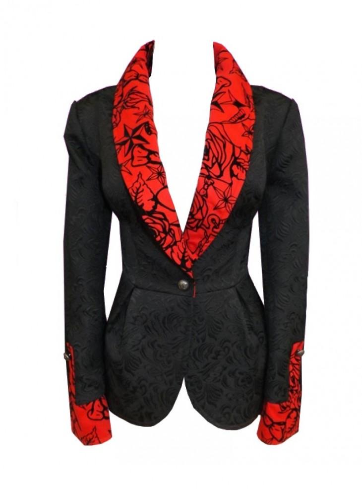 "Veste Rockabilly Vintage Retro HR London ""Black & Red Flock"""