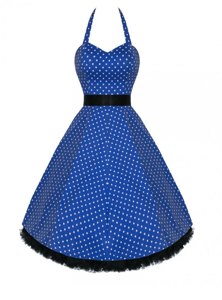 "Robe Vintage Retro HR London ""Blue&White Small Dots"""