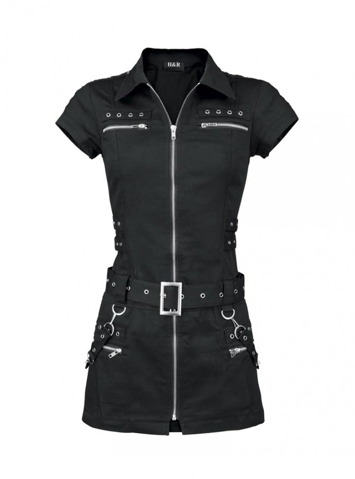 "Robe-tunique Punk Gothique HR London ""Black Zip Dress"""
