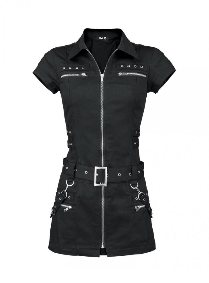 """Robe-tunique Punk Gothique HR London """"Black Zip Dress"""""""