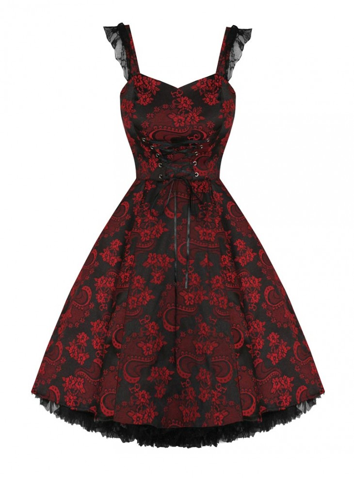 "Robe vintage HR London ""Black Red Brocade"""