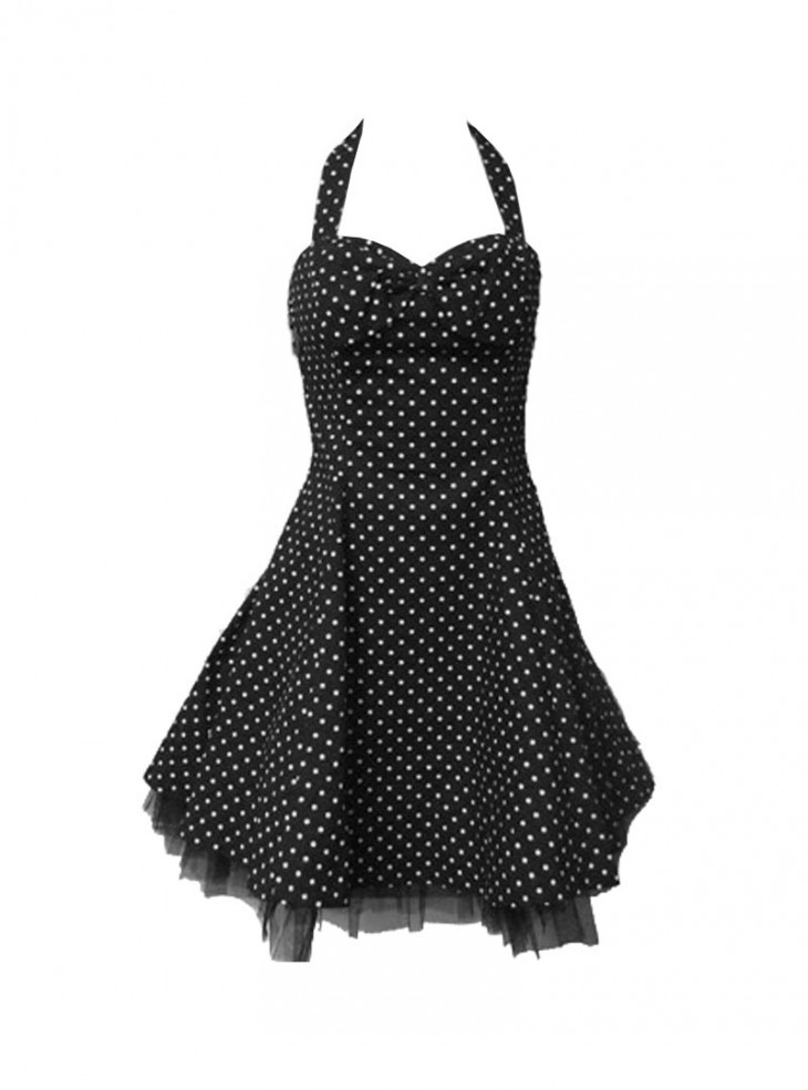 "Robe rockabilly vintage HR London ""Black & White Dot"""