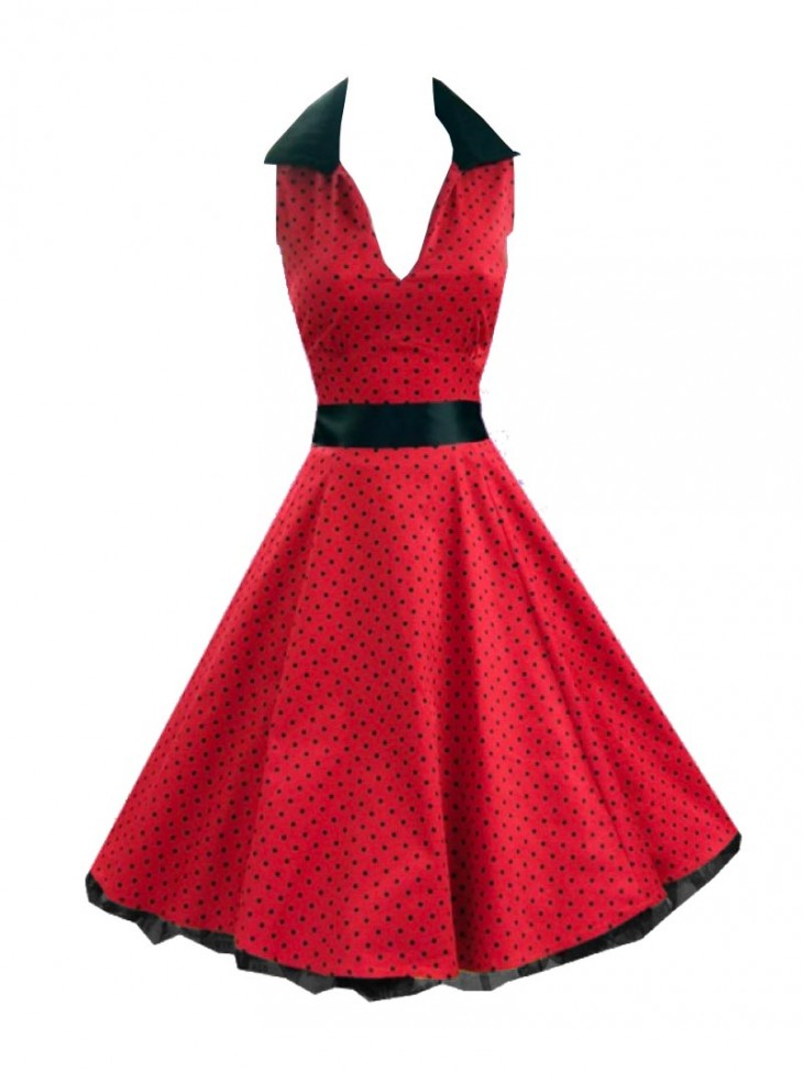 "Robe rockabilly vintage HR London ""Red Black Small Dot"""
