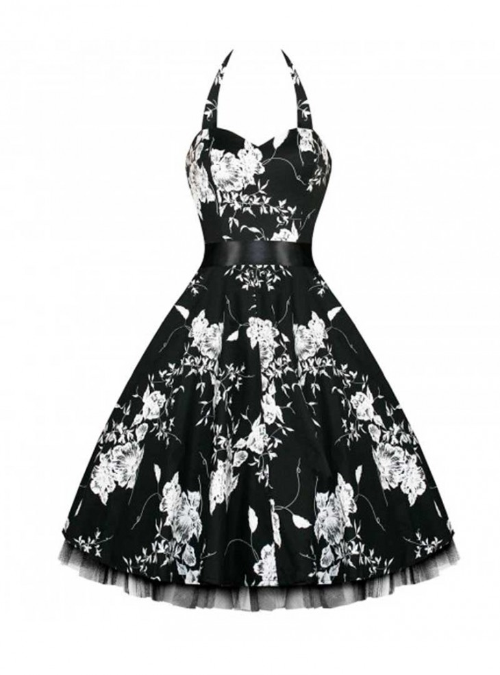 "Robe rockabilly vintage HR London ""Black White Flowers"""