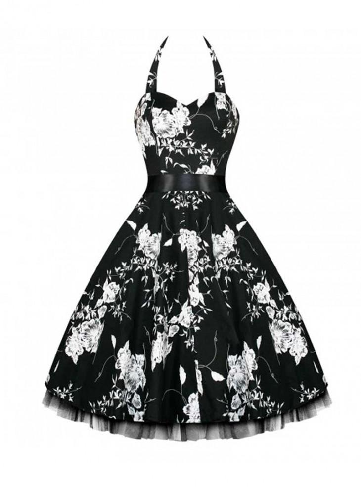 "Robe rockabilly vintage HR London ""Black White Flowers"""