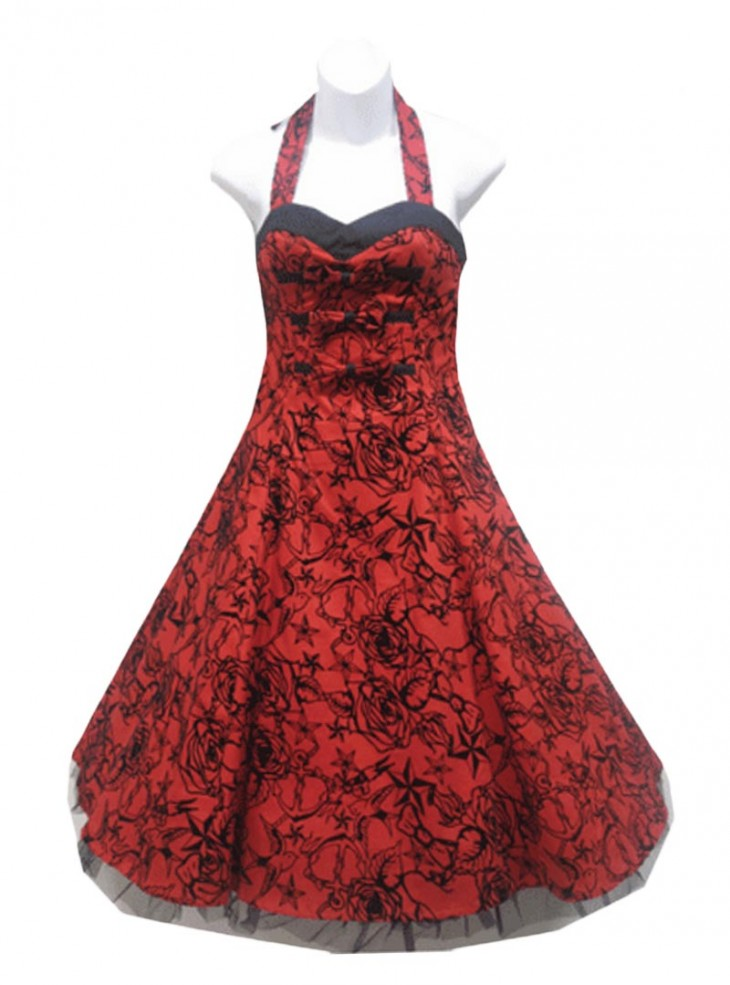 "Robe rockabilly vintage HR London ""Red Velours Tattoo"""