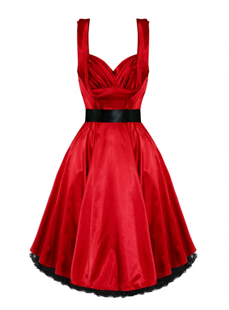 "Robe Pin-UP Rockabilly Vintage Satin rouge HR London ""Red Satin"""