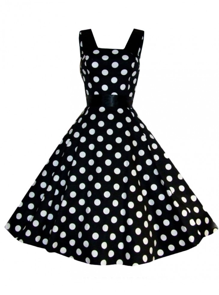 "Robe rockabilly vintage HR London ""Black White Big Dot"""
