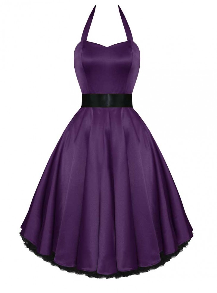 "Robe de soirée Rockabilly Pin-Up Satin HR London ""Purple Satin"""
