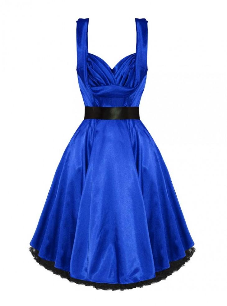 "Robe de soirée Pin-UP Rockabilly Vintage Satin bleu HR London ""Blue Satin"""