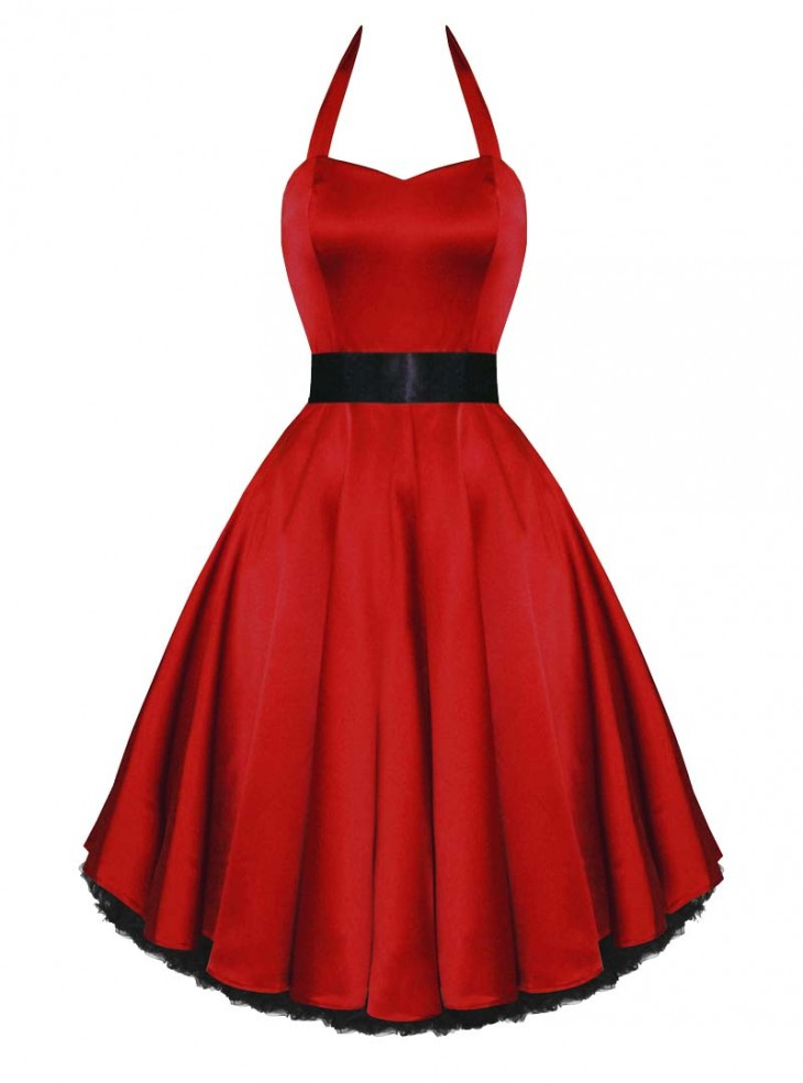 "Robe de soirée Rockabilly Pin-Up Satin HR London ""Red Satin"""